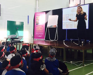Cressida Cowell with Elmhurst children