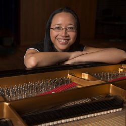 Eugenia Cheng with piano