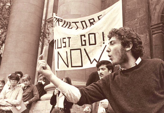 Michael Rosen taking part in a demonstration in 1968