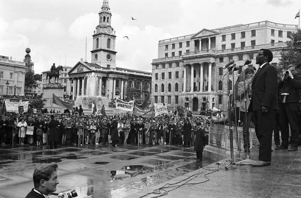 Oliver Tambo addressing an anti-Apartheit protest in Trafalgar Square, 1968