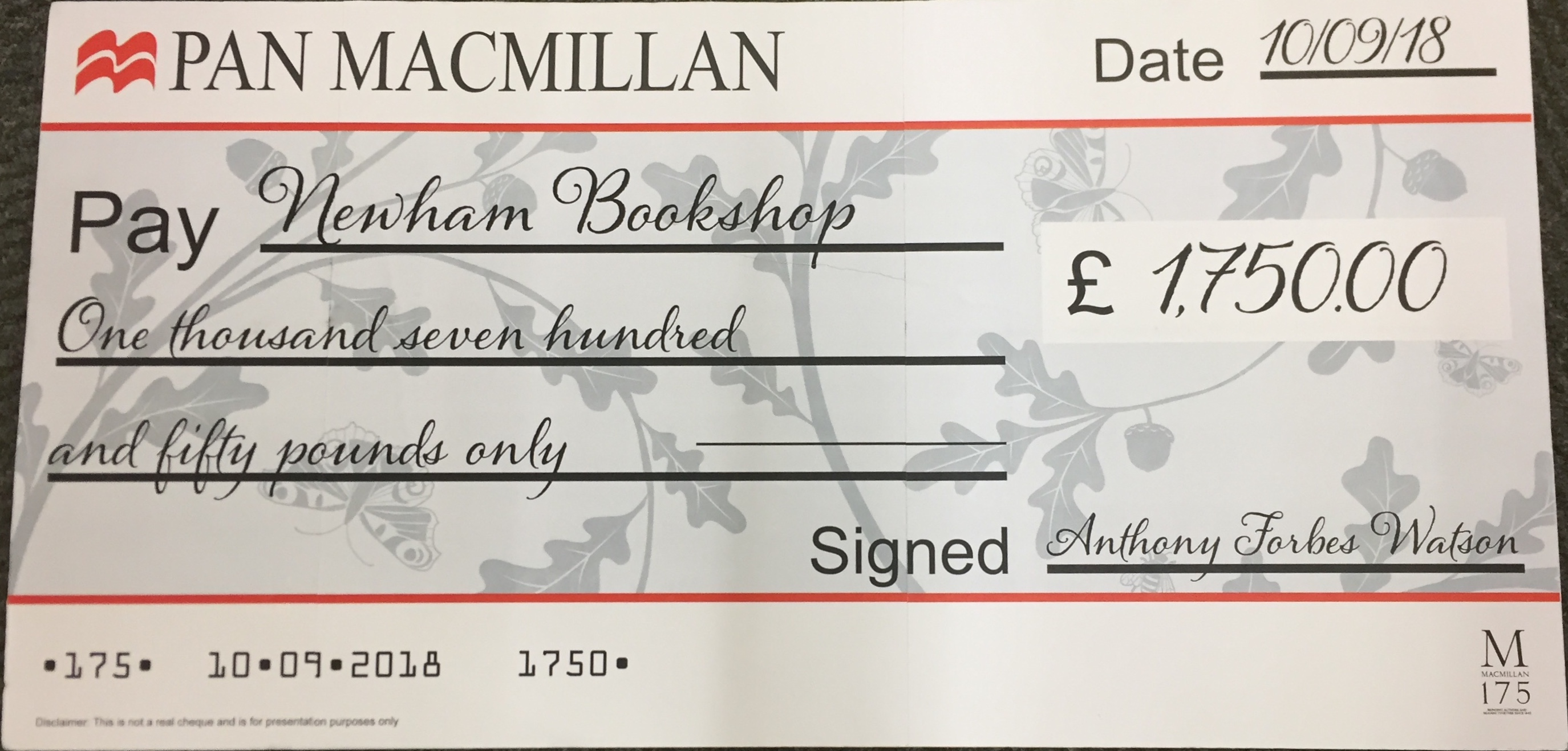 Pan Macmillan big cheque