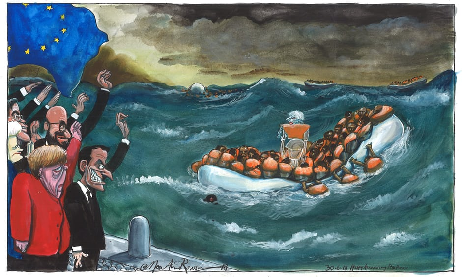 Martin Rowson's carton on Theresa May v the EU 27