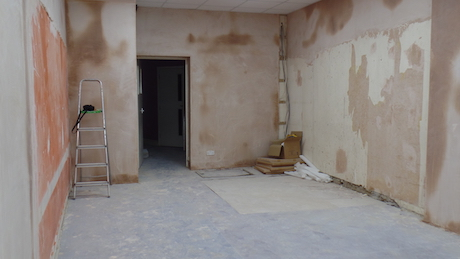 Plastering in progress