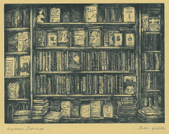 Drypoint etching of adult book display