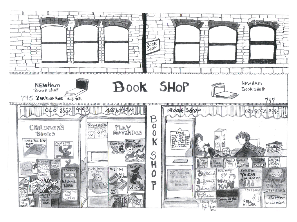 Newham Bookshop line drawing