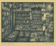 Drypoint etching of children's shop