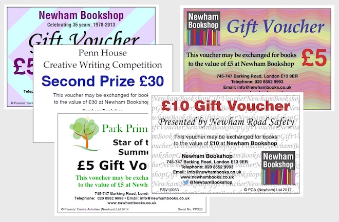 Display of gift vouchers